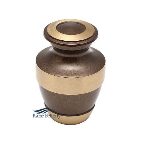 U86579K Urne miniature en laiton brun et or