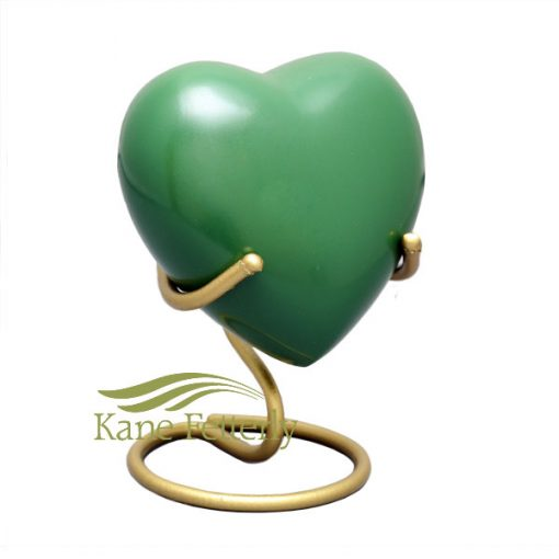 Irish green brass heart miniature urn
