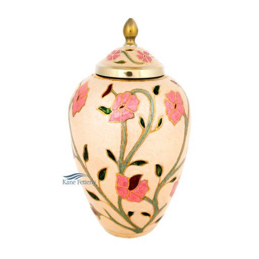 Urne en laiton à motif floral