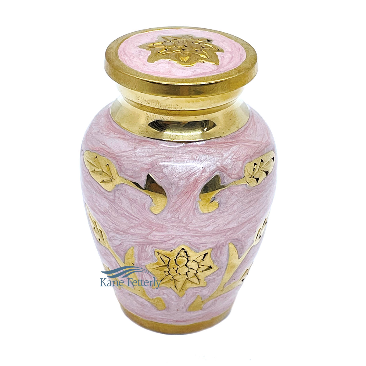 U86715K Pink brass miniature urn with sunflowers