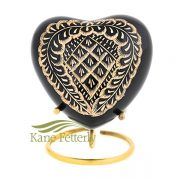 U86720H Black and gold heart miniature urn