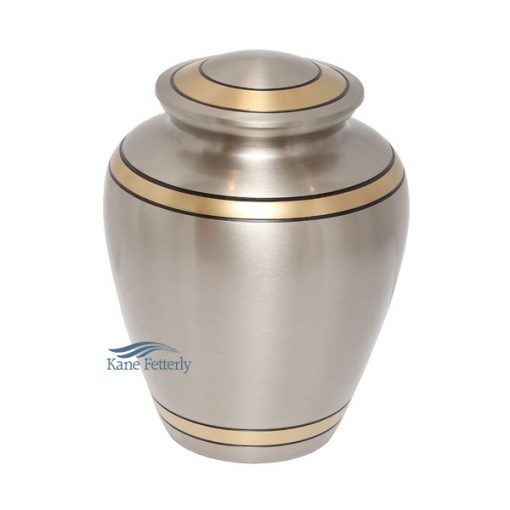 Silver brass urn with gold bands