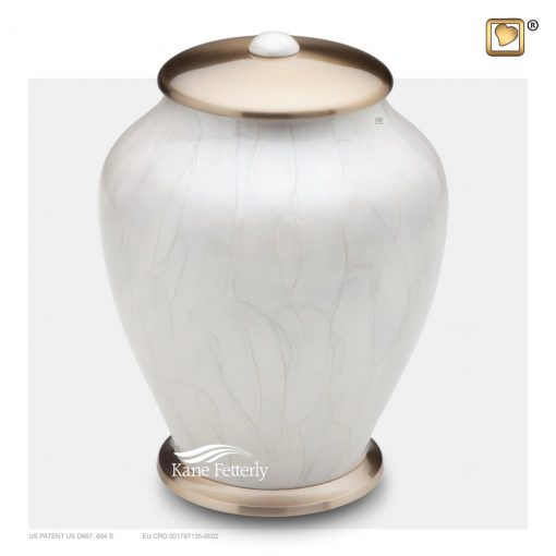 Brass urn with white pearlescent finish
