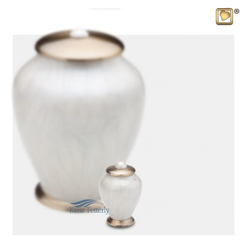 White and gold miniature urn
