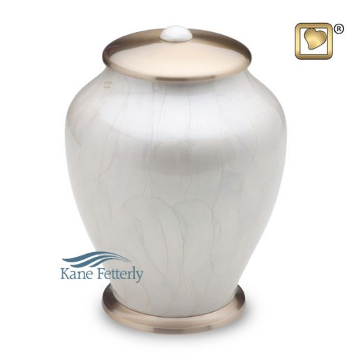 U8684 Brass urn with white pearlescent finish