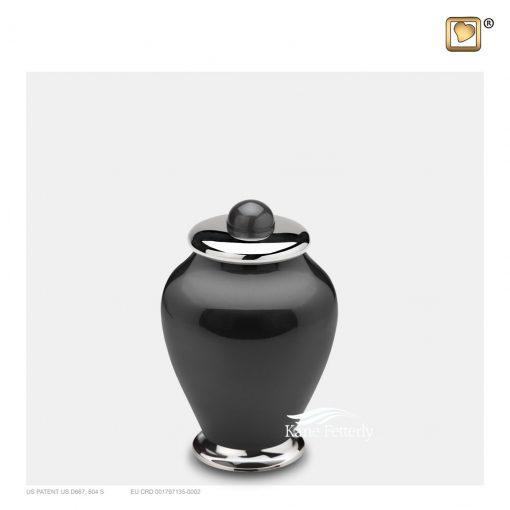 Brass and aluminum miniature urn.