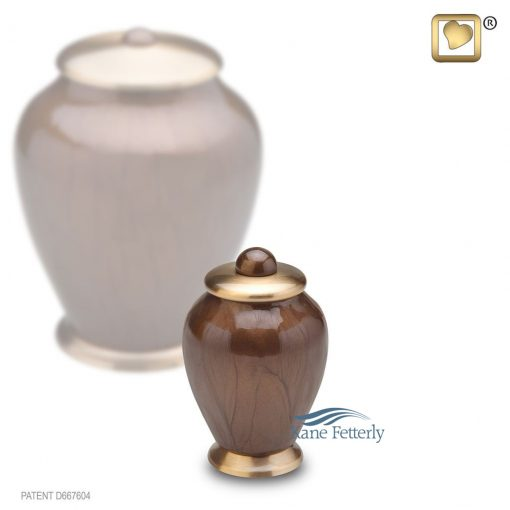 Brown and gold miniature urn