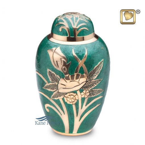 U8687 Green brass urn
