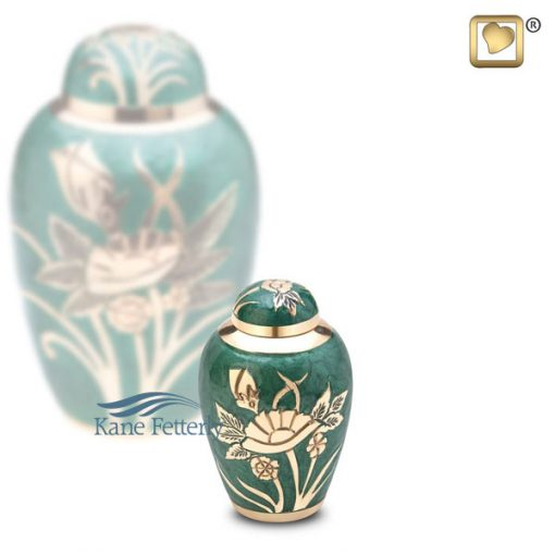 U8687K Green miniature urn with gold rose