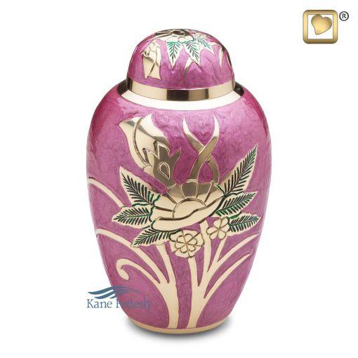 U8688 Urne en laiton rose ornée de motifs floraux