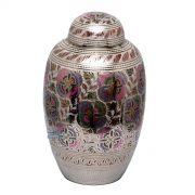 U8691 Brass urn with floral motif