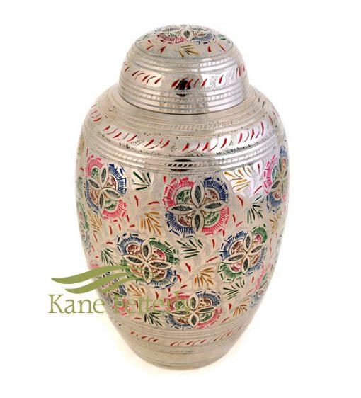 U8691 Brass urn with floral motif