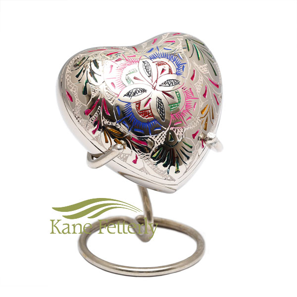 U8691H Heart miniature urn with floral motif