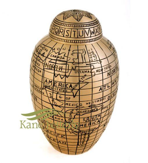 U8692 Brass urn with world map motif