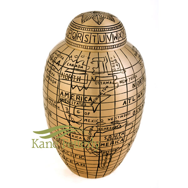 U8692 Urn with world map motif