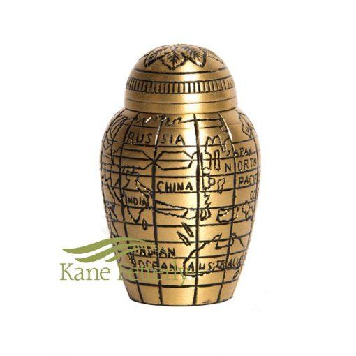 U8692K Brass keepsake urn with world map motif