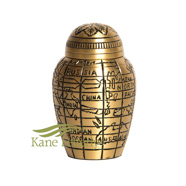 U8692K Miniature urn with world map motif