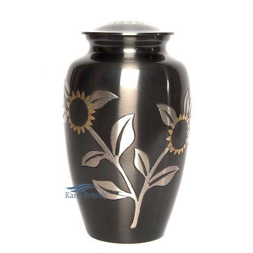 Brass urn with sunflowers
