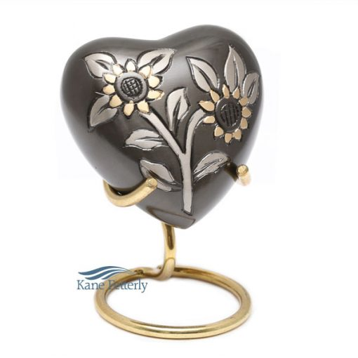 Grey heart with sunflowers