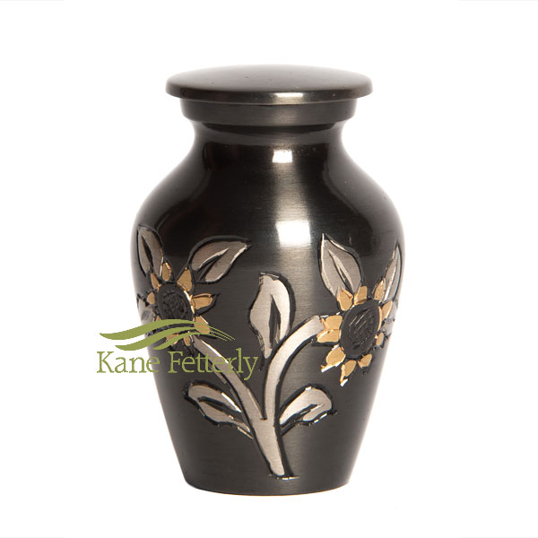 U8693K Brass miniature urn with sunflowers