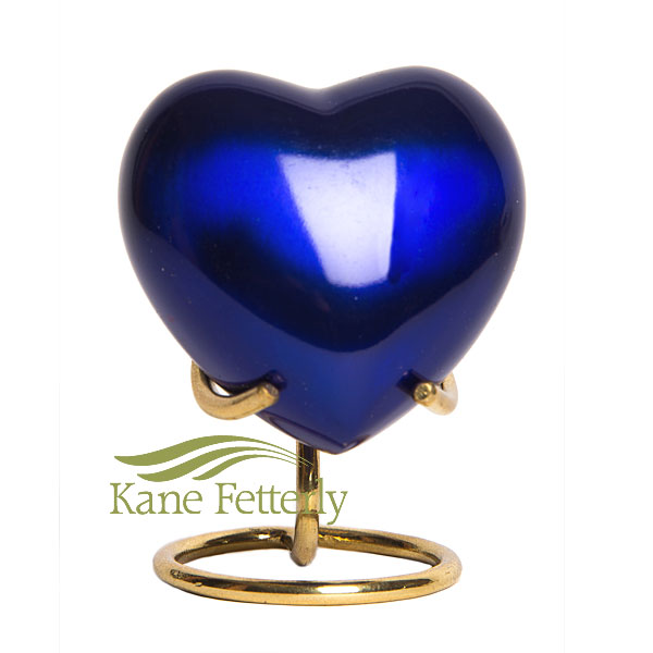 U8696H Blue brass heart miniature urn