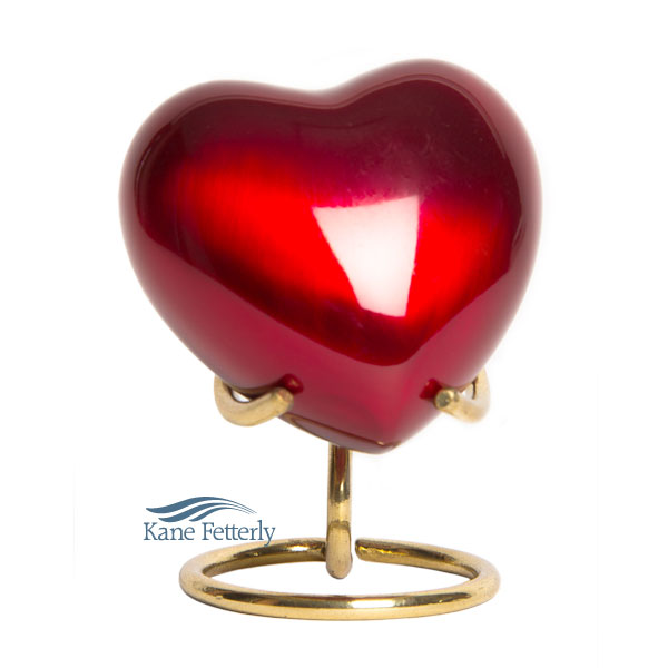 U8697H Red brass heart miniature urn