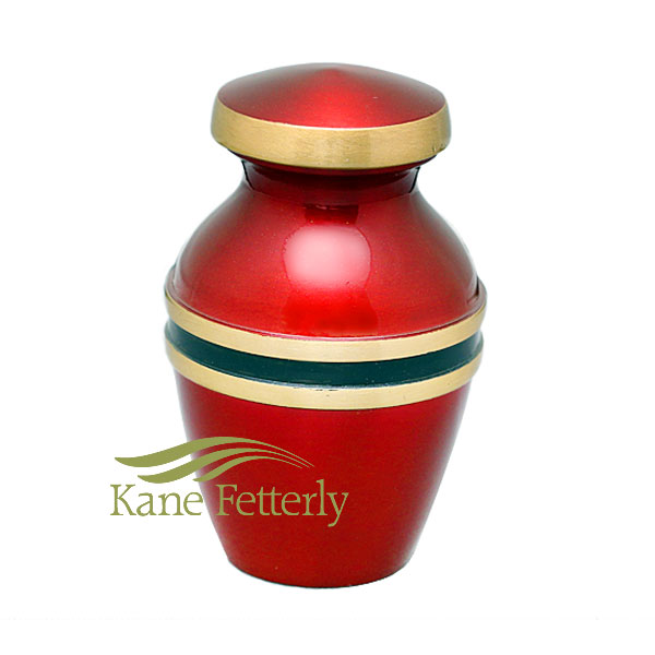 U8697K Red and gold miniature urn