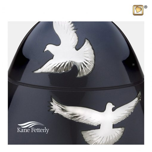 Oval urn with flying doves