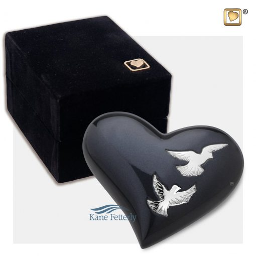 Brass heart miniature urn with doves shown with box