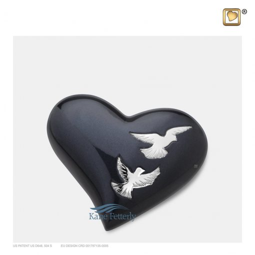 Brass heart miniature urn with doves