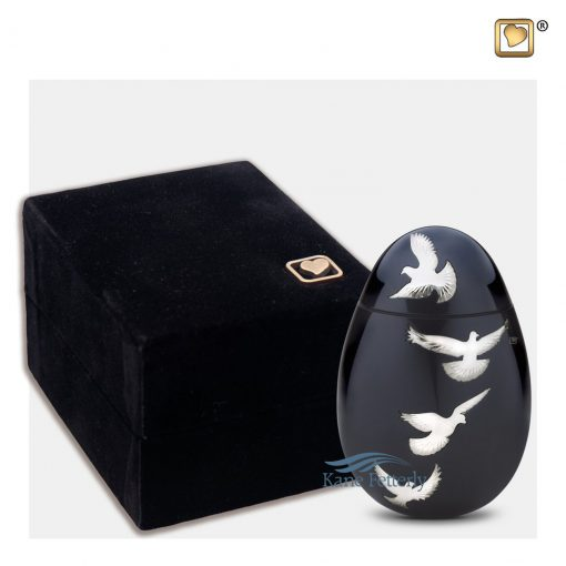 Oval miniature urn shown with box