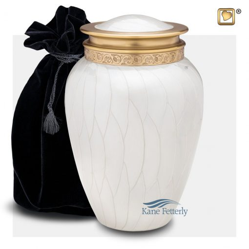 White and gold urn with pearlescent finish
