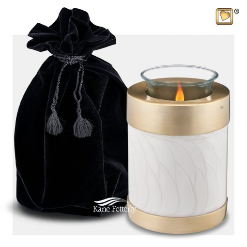 Pearl and gold tealight miniature urn