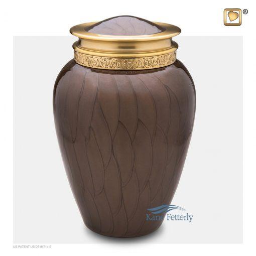 U8704  Urne en laiton brun, finition nacrée