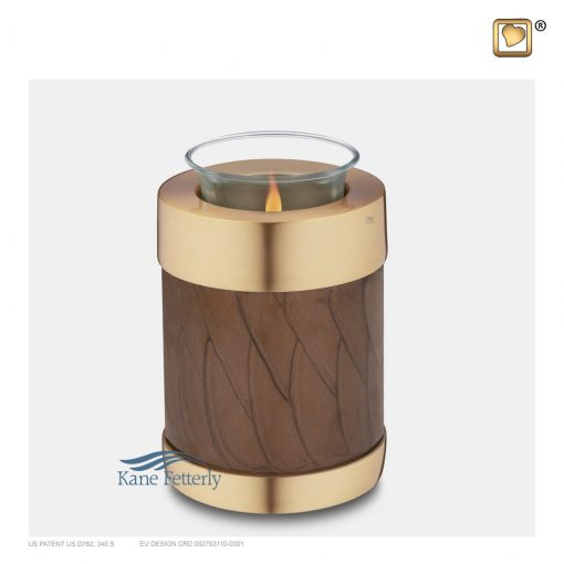 Brown and gold tealight candle holder miniature urn