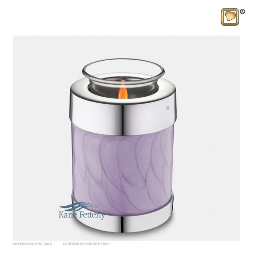 Brass lavender tealight miniature keepsake urn with pearlescent finish and silver bands.