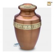 Brass urn with gold floral band