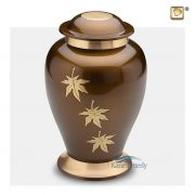 Brown brass urn with gold leaves