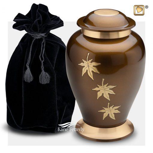Urn shown with velvet bag