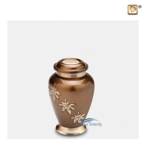 Urne miniature en laiton, motif feuilles