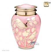 Pink brass urn with gold birds