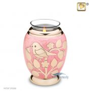 Pink brass tealight miniature keepsake urn with gold bird and floral motifs