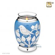 Blue tealight miniature urn with silver bird