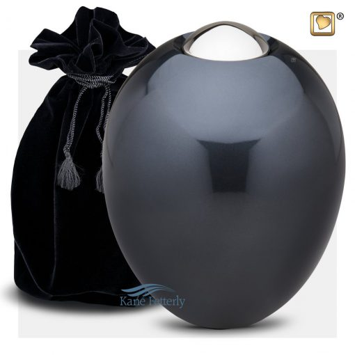 Dark grey-blue oval urn (shown with velvet bag)