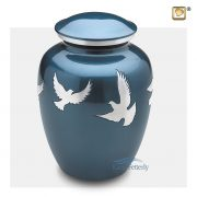 Blue aluminum urn with silver doves