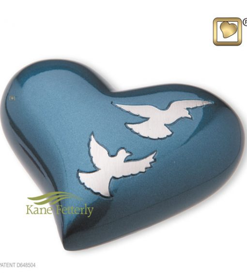 U8718H Brass heart miniature urn with doves