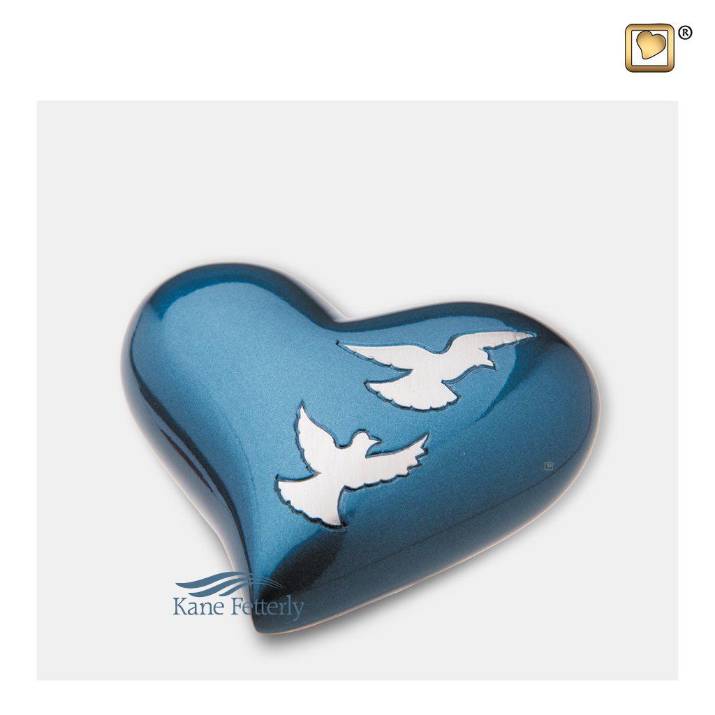 U8718H Urne miniature en coeur, motif colombes