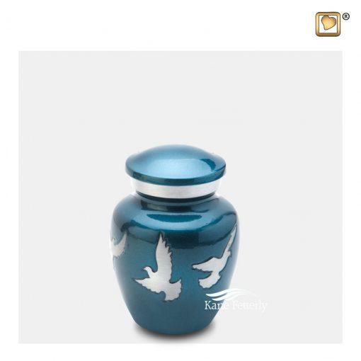 Urne miniature en laiton bleu à motif de colombes argentées.