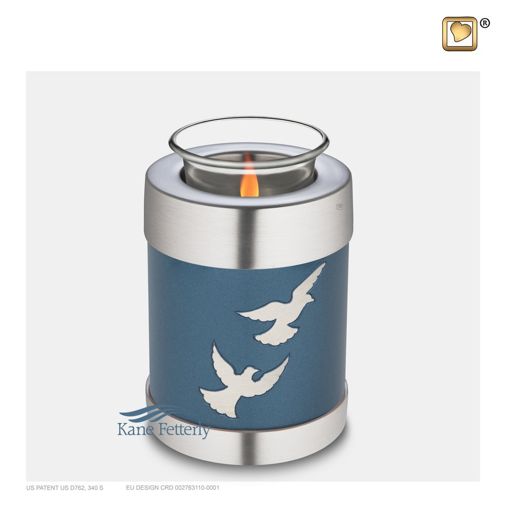 U8718T Tealight candle holder miniature urn with doves