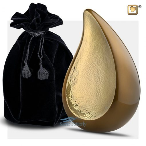 Brown and gold tear drop urn